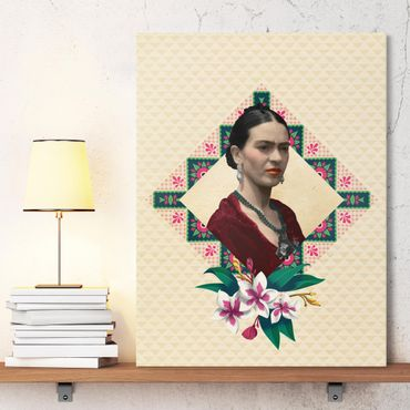 Stampa su tela - Frida Kahlo - Flowers And Geometry - Verticale 3:4
