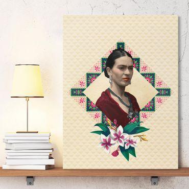 Stampa su tela - Frida Kahlo - Flowers And Geometry - Verticale 3:4
