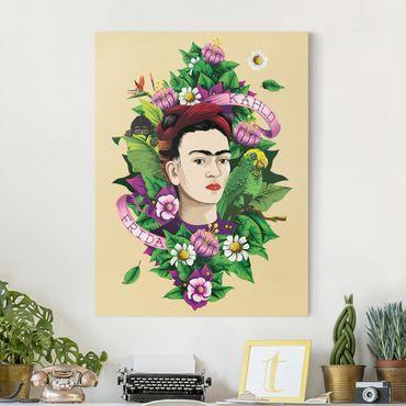 Stampa su tela - Frida Kahlo - Frida, Monkey And Parrot - Verticale 3:4