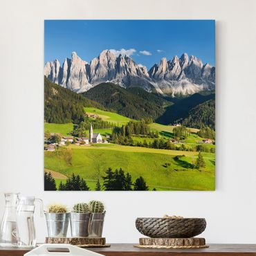 Stampa su tela - Odle In South Tyrol - Quadrato 1:1
