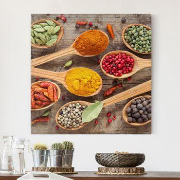 Stampa su tela - Spices On Wooden Spoon - Quadrato 1:1