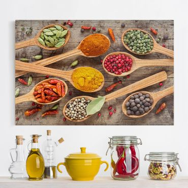 Stampa su tela - Spices On Wooden Spoon - Orizzontale 3:2