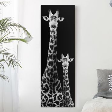 Stampa su tela - Giraffe Duo Black And White - Pannello