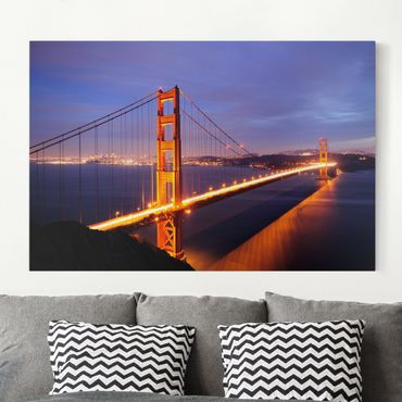 Stampa su tela - Golden Gate Bridge at night - Orizzontale 3:2