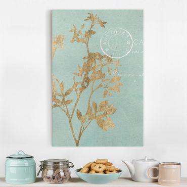 Stampa su tela - Foglie d'oro su Turquoise I - Verticale 2:3
