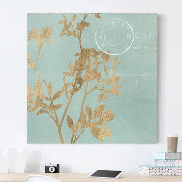 Stampa su tela - Foglie d'oro su Turquoise I - Quadrato 1:1