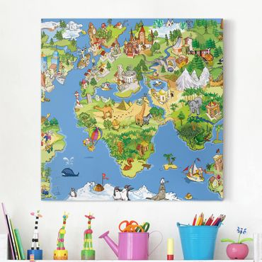 Stampa su tela - Great And Funny Worldmap - Quadrato 1:1