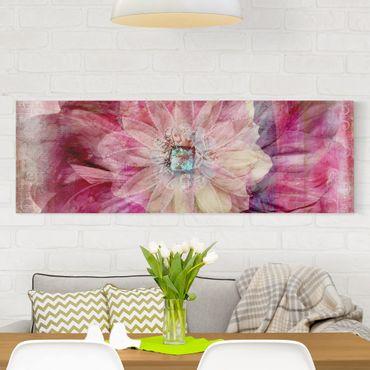 Stampa su tela - Grunge Flower - Panoramico