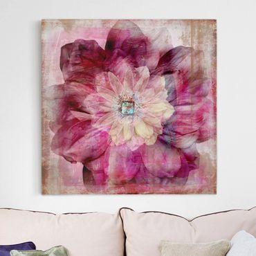 Stampa su tela - Grunge Flower - Quadrato 1:1