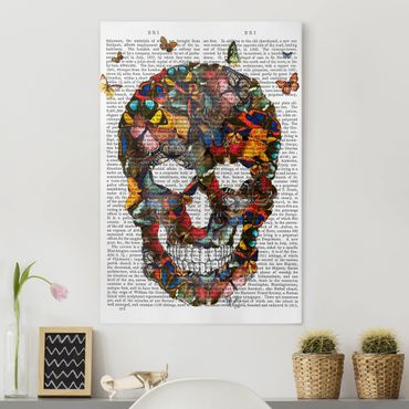 Stampa su tela - Spaventoso Reading - Butterfly Skull - Verticale 2:3