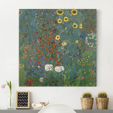 Stampa su tela - Gustav Klimt - Farm Garden with Sunflowers - Quadrato 1:1
