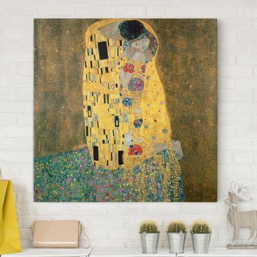 Stampa su tela - Gustav Klimt - The Kiss - Quadrato 1:1