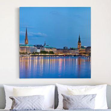 Stampa su tela - Hamburg Skyline - Quadrato 1:1