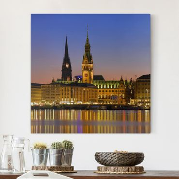 Stampa su tela - Hamburg Panoramico - Quadrato 1:1