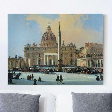 Stampa su tela - Ippolito Caffi - Papa Benedizione in piazza San Pietro a Roma - Orizzontale 4:3