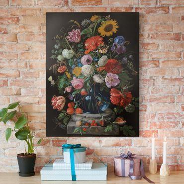 Stampa su tela - Jan Davidsz de Heem - Tulipani, un girasole, un Iris e altri fiori in un vaso di vetro sul marmo base di una colonna - Verticale 3:4