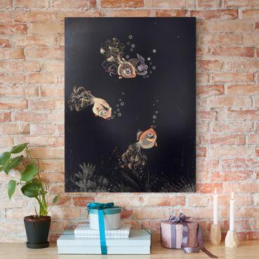 Stampa su tela - Jean Dunand - Scena subacquea con rosso e oro Pesce, Bolle - Verticale 3:4