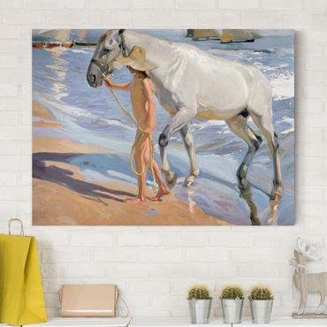 Stampa su tela - Joaquin Sorolla - Bagno del cavallo - Orizzontale 4:3