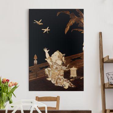Stampa su tela Il ragazzo a caccia di due libellule su una veranda - Verticale 2:3