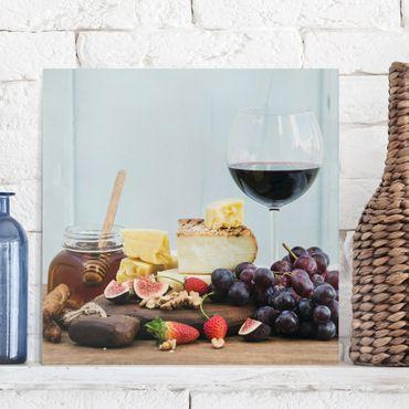 Stampa su tela - Cheese And Wine - Quadrato 1:1