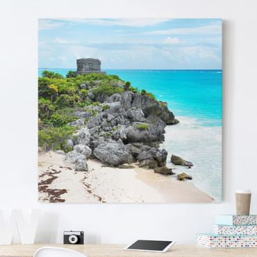 Stampa su tela - Caribbean Coast Tulum Ruins - Quadrato 1:1