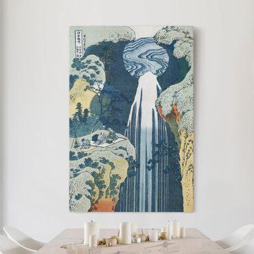 Stampa su tela Katsushika HokUSAi - La cascata di Amida dietro la strada Kiso - Verticale 2:3