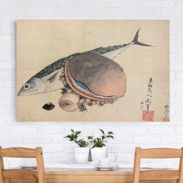 Stampa su tela - Katsushika HokUSAi - Mackerel and Sea Shells - Orizzontale 3:2
