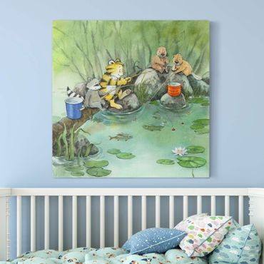 Stampa su tela - Il piccolo tigrotto - When Fishing - Quadrato 1:1