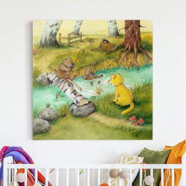 Stampa su tela - Il piccolo tigrotto - With The Beavers - Quadrato 1:1