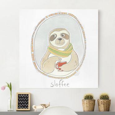 Stampa su tela - caffeina Sloth - Quadrato 1:1