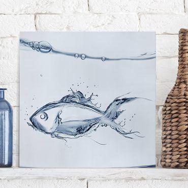 Stampa su tela - Liquid Silver Fish - Quadrato 1:1