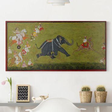Stampa su tela - Maharaja Jagat Singh persegue un elefante in fuga - Orizzontale 2:1