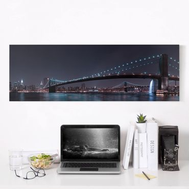 Stampa su tela - Manhattan Skyline e Brooklyn Bridge - Panoramico