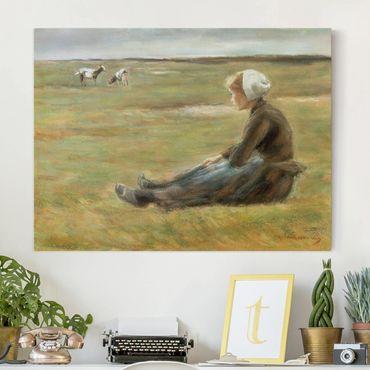 Stampa su tela - Max Liebermann - Capra Herdess in dune di sabbia - Orizzontale 4:3