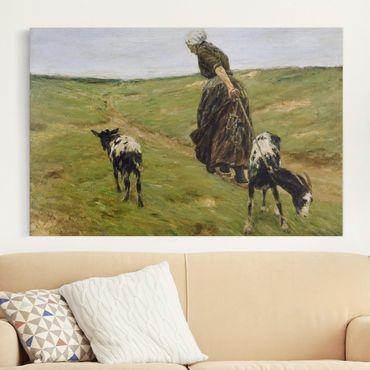 Stampa su tela - Max Liebermann - Woman with Nanny-Goats in the Dunes - Orizzontale 3:2