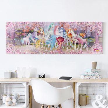 Stampa su tela - Mia And Me - Mia And Onchao With The Unicorns Of Centopia - Panoramico