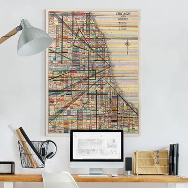 Stampa su tela - Mappa Moderna Di Chicago - Verticale 3:4