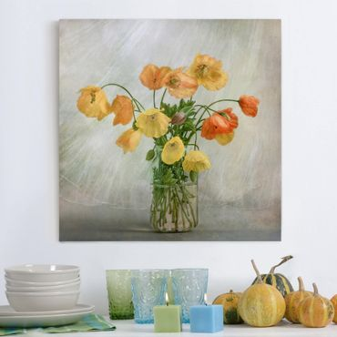 Stampa su tela - Papaveri in un Vaso - Quadrato 1:1