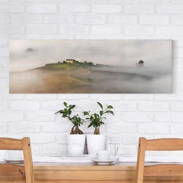 Stampa su tela - Nebbia Mattutina in Toscana - Panoramico