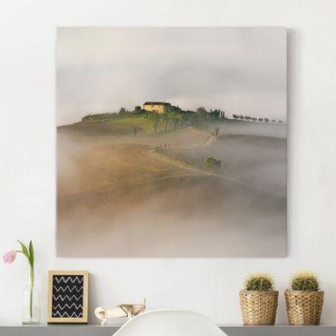 Stampa su tela - Nebbia Mattutina in Toscana - Quadrato 1:1