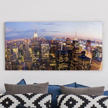 Stampa su tela - New York Skyline At Night - Orizzontale 2:1
