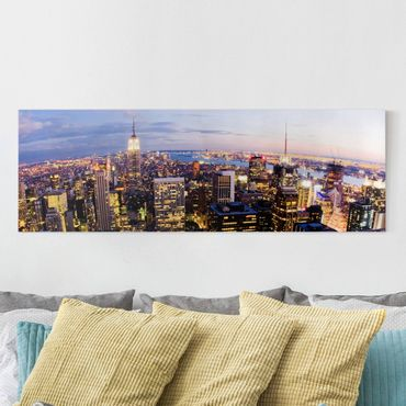 Stampa su tela - New York Skyline At Night - Panoramico