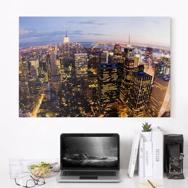 Stampa su tela - New York skyline at night - Orizzontale 3:2