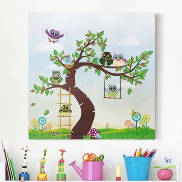 Stampa su tela - No.YK23 Funny Owl Tree - Quadrato 1:1