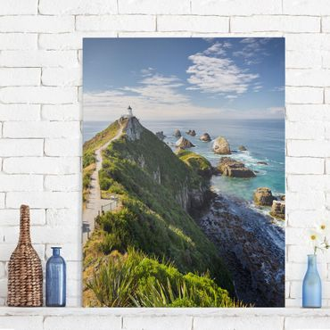 Stampa su tela - Nugget Point Lighthouse And Sea New Zealand - Verticale 3:4