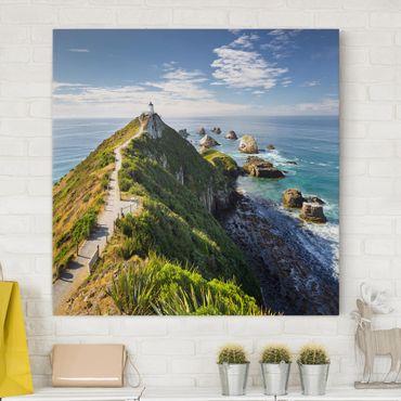Stampa su tela - Nugget Point Lighthouse And Sea Zealand - Quadrato 1:1