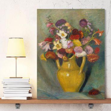 Stampa su tela - Otto Modersohn - Bouquet colorati in giallo Brocca - Verticale 3:4