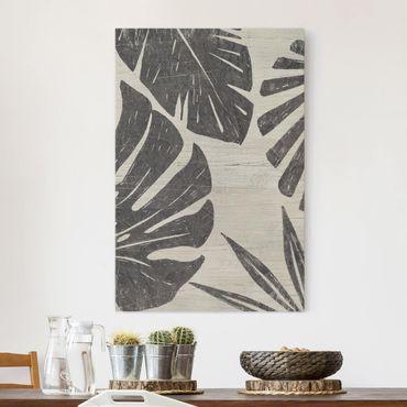 Stampa su tela - Foglie di palma contro un grigio chiaro - Verticale 2:3
