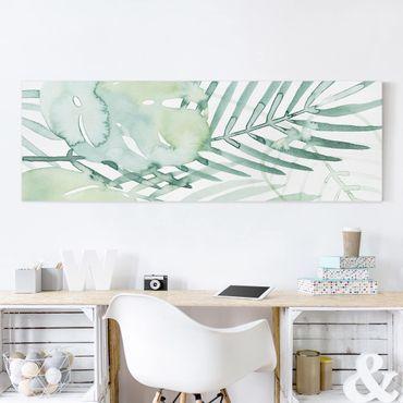 Stampa su tela - Palm Fronde in acquerello I - Panoramico