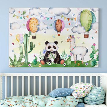 Stampa su tela - Panda and Lama watercolour - Orizzontale 3:2